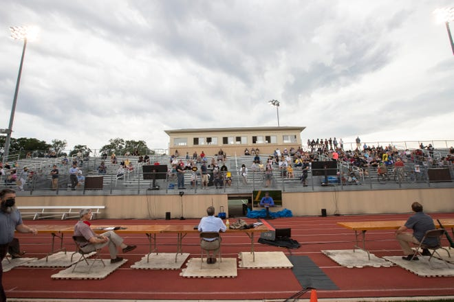 About 150 people attended a listening session during a special meeting of the Wauwatosa Common Council Tuesday, July 21, 2020, at Hart Park Stadium that addressed race, equity and police issues. The city does not have a person of color on its council, something that is causing frustration from community members.
