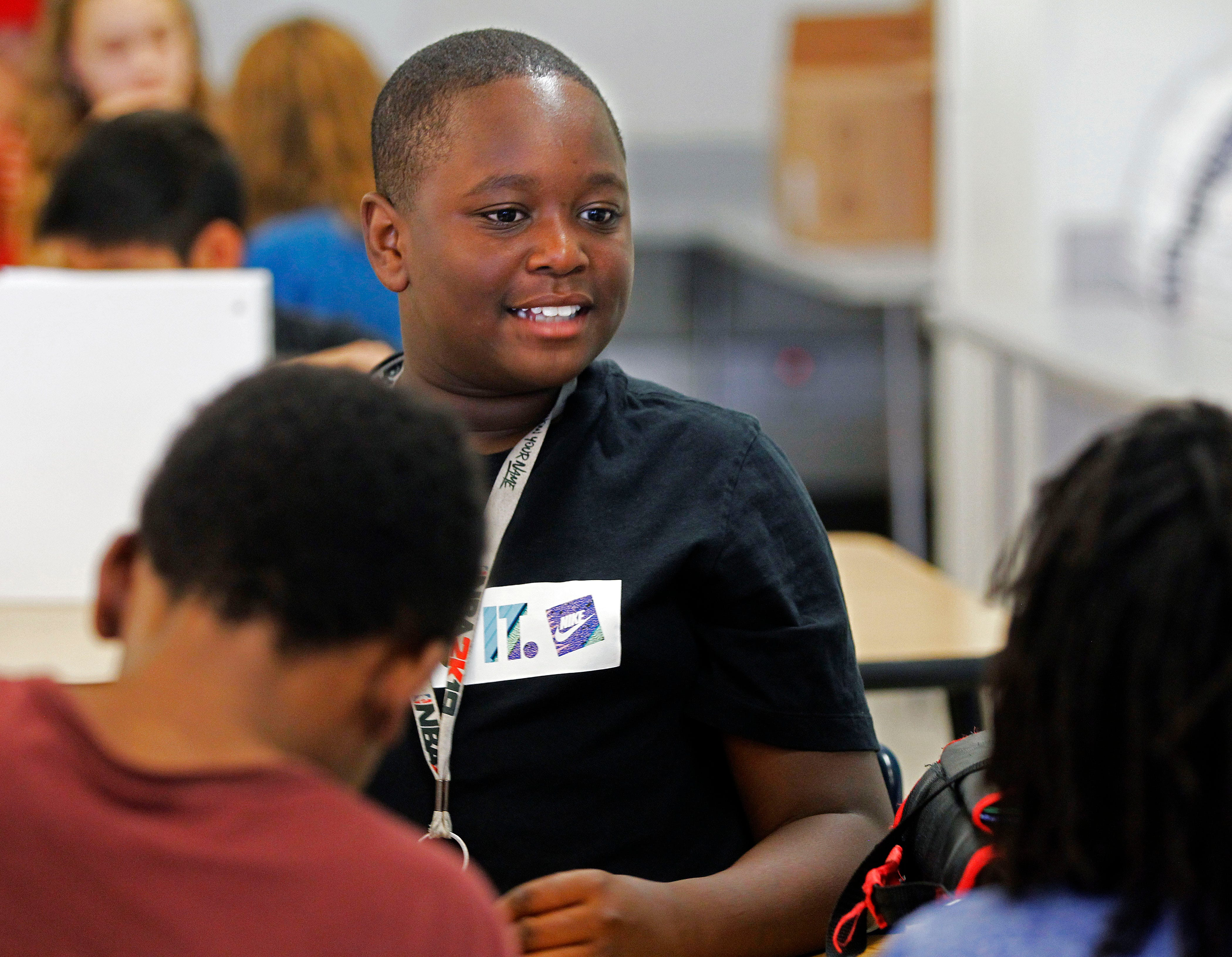 Matthias Jeffrie, 12, in class at Capitol Hill Magnet on Monday, Sept. 30, 2019 in St. Paul, Minneapolis.