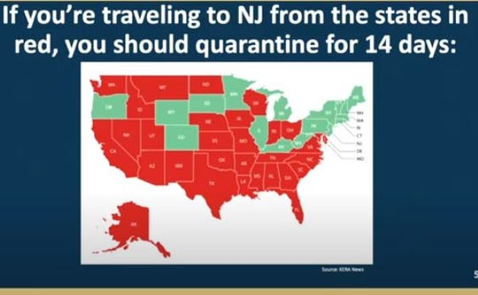 Map of states (in red) that visitors to New Jersey should quaratine for COVID-19. On July 21, the list of states expanded to 31.