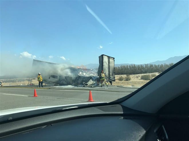 The big rig fire was reported around 3 p.m. Wednesday on Interstate 10 near Date Palm Drive.