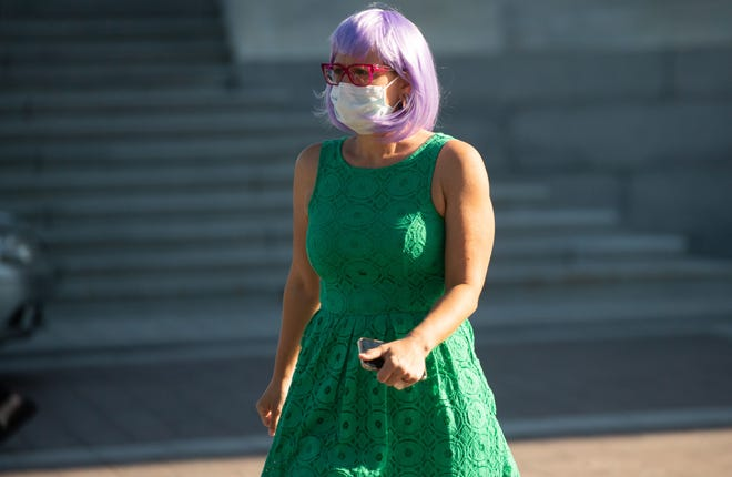 U.S. Sen. Kyrsten Sinema, D-Ariz., arrives for a vote at the Capitol in Washington on May 4, 2020.