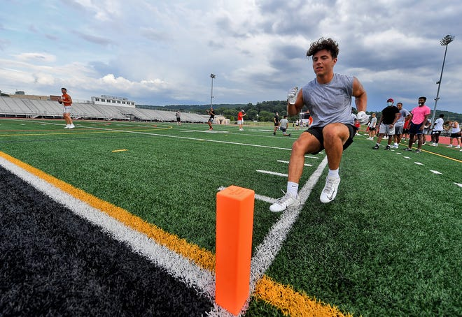 Central York High School football players run drill during summer workouts, Tuesday, July 22, 2020 John A. Pavoncello photo