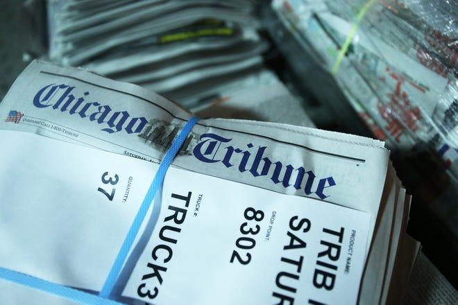 Bundles of Chicago Tribune Saturday editions are stacked for delivery at the Freedom Center. (John J. Kim/Chicago Tribune/TNS)