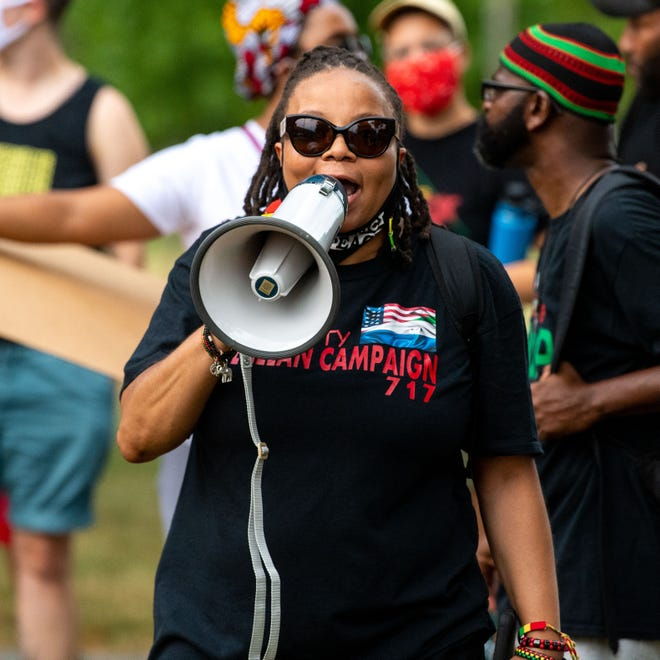 Call to Action Worldwide spokesperson Dr. Felicia Dennis leads the crowd in chants as they march through York City to celebrate the Life and Legacy of Lillie Belle Allen, Tuesday, July 21, 2020. The march started at Penn Park and ended at the train tracks on Newberry Street where Allen was murdered 51 years ago.