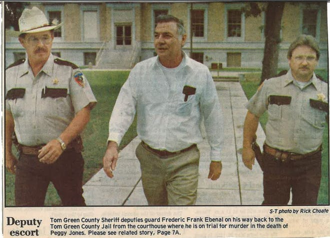 This archived photo shows Frederick Frank Ebenal leaving the Tom Green County Courthouse during the 1992 murder trial.