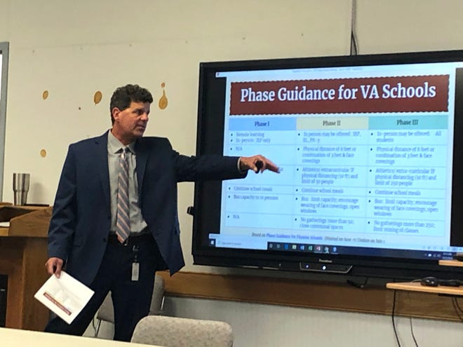 Garett Smith, the Staunton City Schools superintendent, discusses the various phases of school reopening during a special called work session for the school board Wednesday morning.