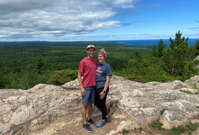 St. Cloud State swimmer Marena Kouba and her boyfriend Dayton Nash pose for a photo on their recent vacation to Michigan.