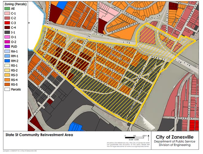 The Zanesville Community Development department's map of the proposed State Street community reinvestment area. The plan goes before city council on Monday.