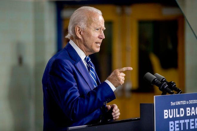 Democratic presidential candidate former Vice President Joe Biden speaks at a campaign event at the Colonial Early Education Program at the Colwyck Training Center, Tuesday, July 21, 2020 in New Castle, Del. x