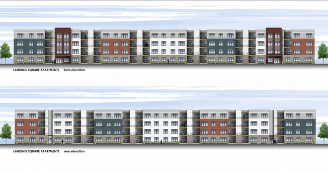 Renderings of the outside of the proposed apartment complex for 600 Bay Road. The proposal was denied July 20.