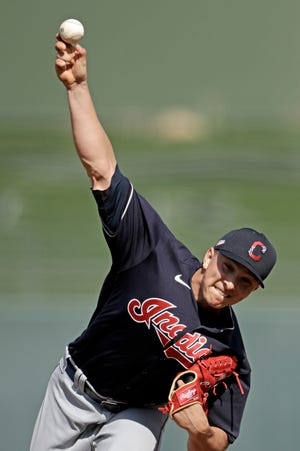 Valley Central graduate James Karinchak is one of 30 players on the Indians' Opening Day roster. Karinchak will pitch out of the bullpen and may play an important role in closing games. CHARLIE RIEDEL/AP