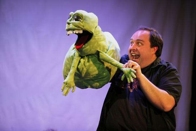"Until recently, Sean P. Mette was an arts administrator with Madcap Puppets. But occasionally, he has been able to indulge his love of acting. Here, he is seen in the role of Corky in ""Don't Cross the Streams: the Cease and Desist Musical"" at Falcon Theatre in 2013."