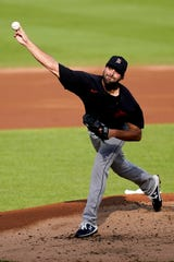 Detroit Tigers pitcher Michael Fulmer (32) pitches the first inning of the exhibition game against the Cincinnati Reds at Great American Ballpark in Cincinnati, on Wednesday, July 22, 2020.