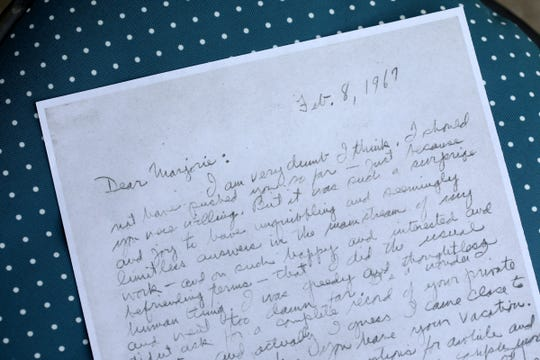 A letter from Don St. John to Marjorie Bump, who, between the two, wrote 250 letters back and forth in the late 1960s about Ernest Hemingway and other matters. Sydney Carroll, a 2020 graduate of West Bloomfield High School spent part of last semester transcribing the letters of Bump, who was romantically linked to Hemingway at one point. Photographed on Tuesday, July 21, 2020.
