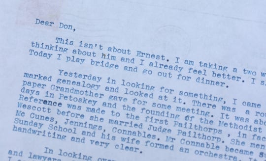 A letter from Marjorie Bump to Don St. John, who, between the two, wrote 250 letters back and forth in the late 1960s about Ernest Hemingway and other matters. Sydney Carroll, a 2020 graduate of West Bloomfield High School, spent part of last semester transcribing the letters of Bump, who was romantically linked to Hemingway at one point. Photographed on Tuesday, July 21, 2020.