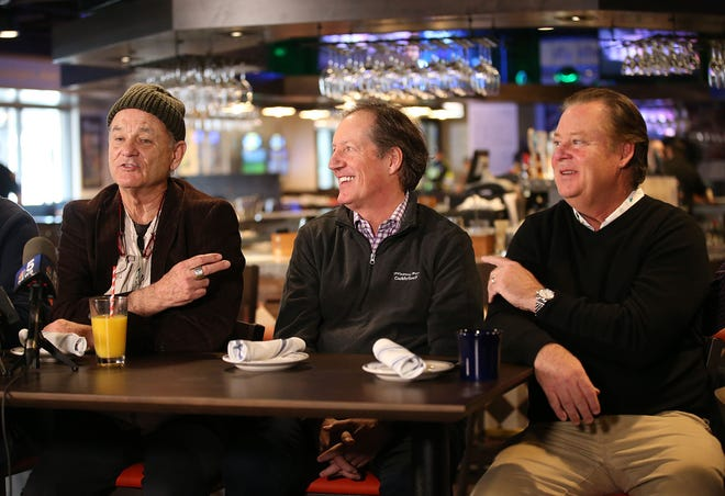 Actor Bill Murray speaks along with Mac Haskall and brother Joel Murray at Caddyshack restaurant in Rosemont in 2018.
