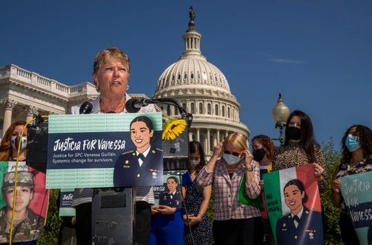 Rep. Julia Brownley, D-Calif., together with other lawmakers and supporters speaks during a news conference on Capitol Hill about ending sexual harassment and assault in the U.S. military and Department of Veterans Affairs Tuesday, July 21, 2020, in Washington.