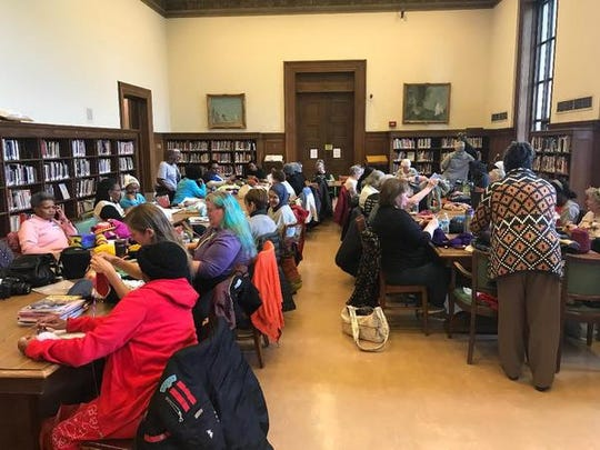 Members of the Detroit Knitting and Crochet Club attend their monthly meeting, held at the main branch of the Detroit Public Library on the third floor in the Fine Arts area.
