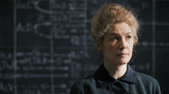"Rosamund Pike in ""Radioactive."""