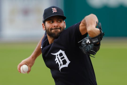 Detroit Tigers pitcher Michael Fulmer throws during an intrasquad baseball game in Detroit, Monday, July 13, 2020.
