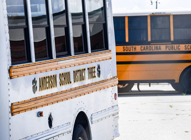 School buses at Crescent High, of Anderson School District Three in Iva, S.C. in July 2020.