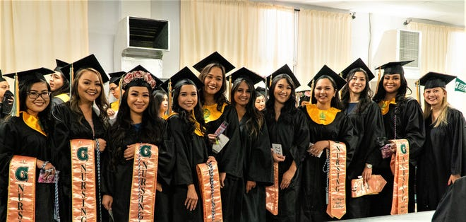 Class of 2019 nursing students at the University of Guam gather for a group photo just prior to their graduation in May 2019. All 31 UOG nursing students who graduated in 2019 passed their licensure exam on the first try. From left, Shanna Mendoza, Athea Salas, Jenesis Vita, Veronica Sazon, Elizabeth Terry, Elijel Dorion, Rachelle Bumagat, Ma. Triziah Calingo, Ariane Sagun, Ashley Sigaoat, and Faesha Martin.