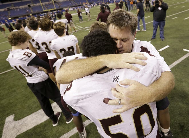 Brebeuf coach Mic Rosseler following his team's loss in the 2017 Class 3A state title game.