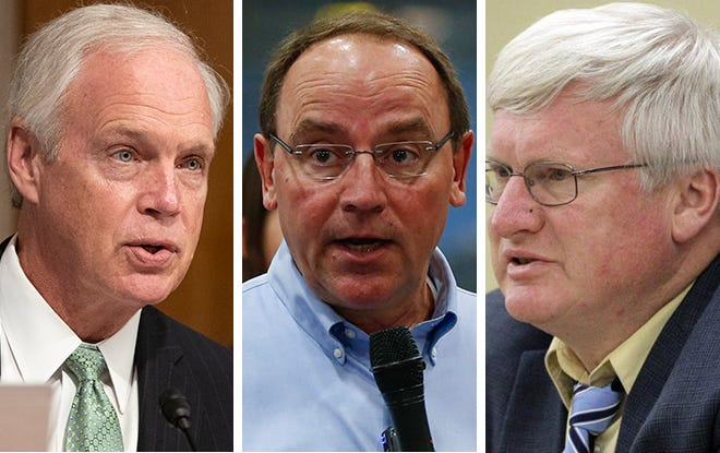 (From right) Sen. Ron Johnson, Rep. Tom Tiffany and Rep. Glenn Grothman