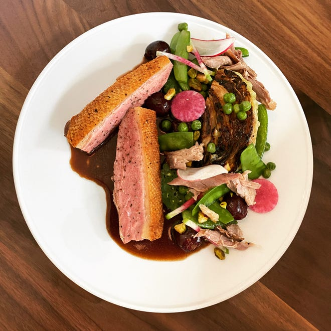 Duck breast and confit dark meat with green and other beans and cherry-duck jus will be one of the main dishes served at the new Oggie's, opening Aug. 4 in Hotel Metro, 411 E. Mason St.
