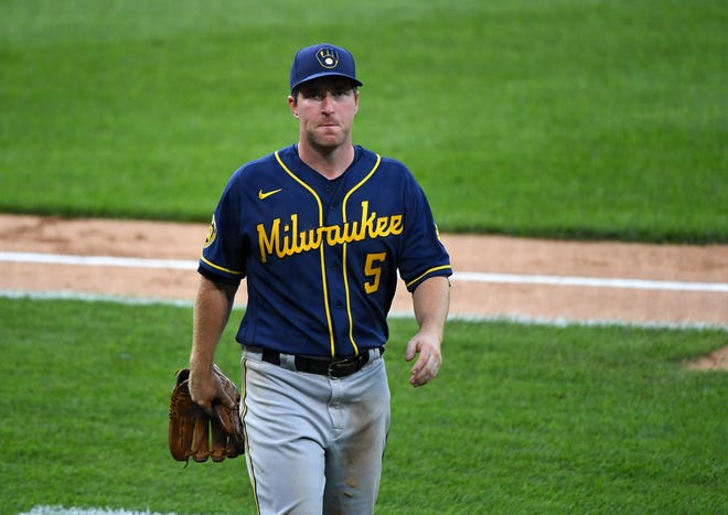 The Brewers' Jedd Gyorko will see more time playing at first base.