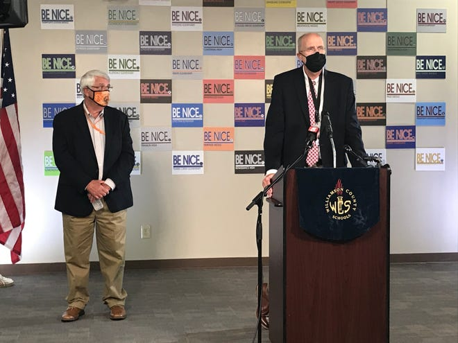 Williamson County Superintendent Jason Golden and County Mayor Rogers Anderson joined for a press conference about the reopening plan for schools.