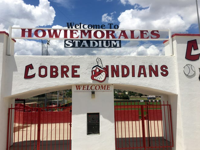 Chief Wahoo greets visitors at the entrance to Howie Morales Stadium at Rominger Field in Bayard, NM. The stadium is home to the Cobre High Indians baseball program.