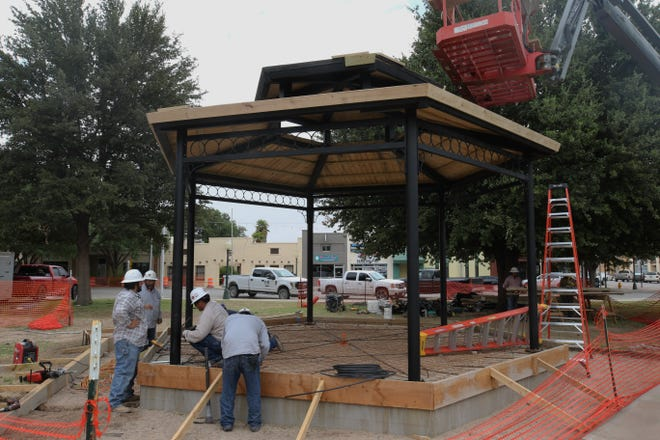 A gazebo is built in downtown Carlsbad, July 21, 2020 at the Eddy County Courthouse.