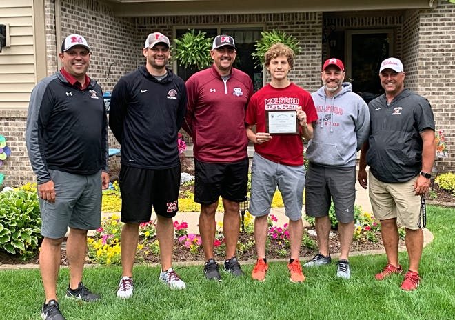 Justin Meyer was surprised with the LVC Sports Person of the Year award by his coaches and the Milford athletic director.