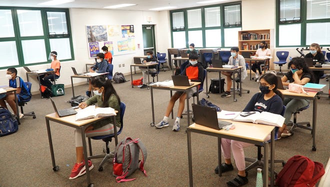 Students in Novi attend a summer school geometry class on July 23. Most school districts in Oakland County are starting the school year remotely.
