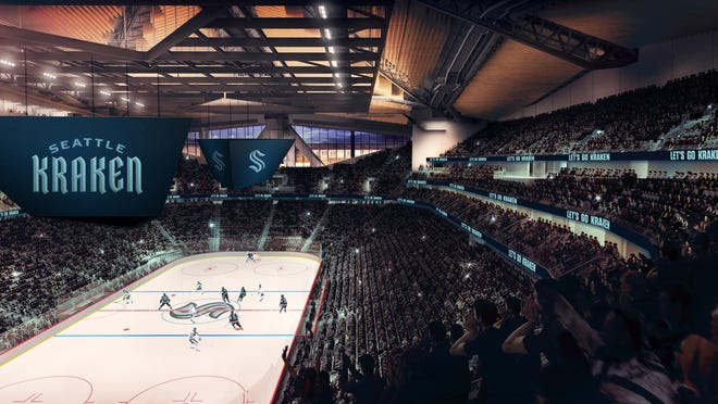 The Seattle NHL team announced that it will be called the Kraken, here is a rendering of its arena with the new branding.