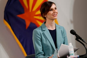 Arizona Department of Education Superintendent Kathy Hoffman speaks during an Arizona coronavirus update news conference on July 23, 2020, in Phoenix.