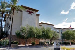 A Hampton Inn is shown  July 21, 2020, in Phoenix. The Trump administration is detaining immigrant children as young as 1 in hotels before deporting them to their home countries.