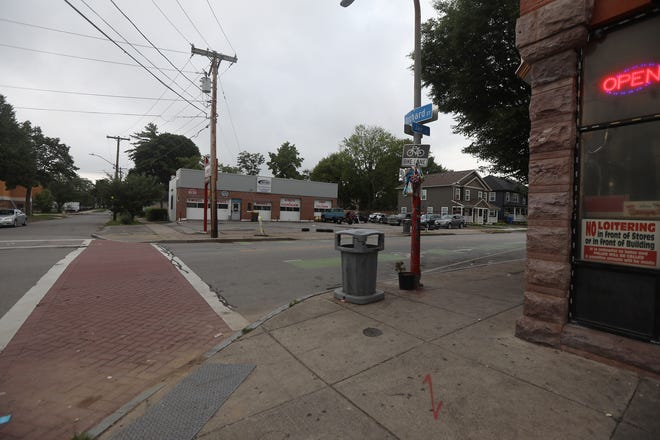 Shaqur Nesmith, 22, was fatally shot in the area of Orchard and Jay Street Wednesday night.  Friends had gathered at the intersection to mourn him Thursday, July 23, 2020.