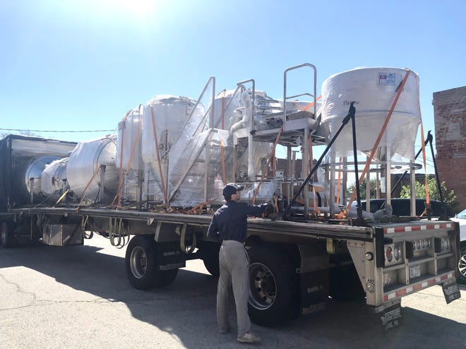 Brewing products get ready to be unloaded at Plateau Brewing Company on July 23, 2020.