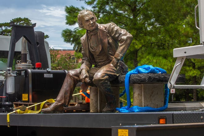 Florida State University officials removed the Francis Eppes statue from campus Thursday, July 23, 2020.