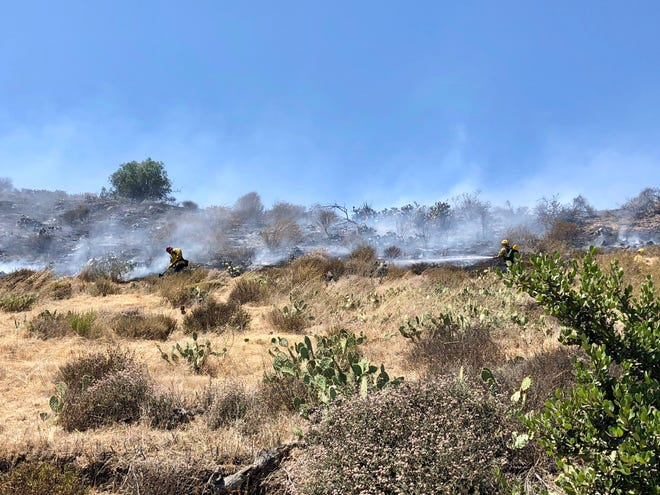 A small brush fire burned near the CSU Channel Islands campus on Thursday afternoon.