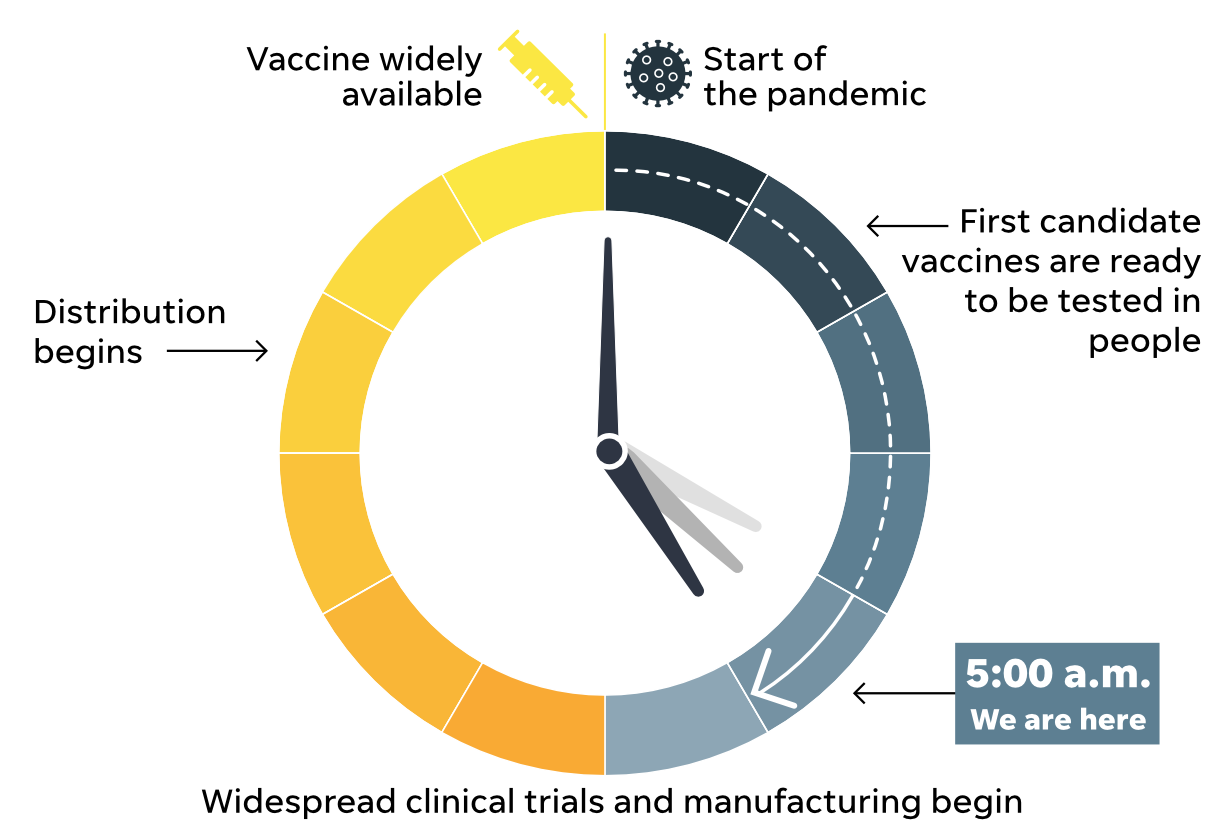 Experts estimate when a COVID-19 vaccine will be available to all Americans.