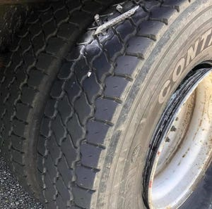 A tire deflated by a caltrop on I-20 in Smith County, Texas.