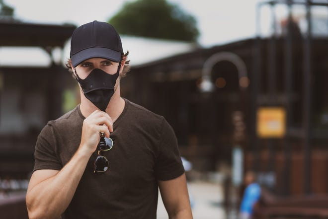Hide-A-Mask, launched by Bluffton resident, allows its wearers to pull a protective mask down from a hat when needed and tuck the mask back into the brim of the hat when not in use.