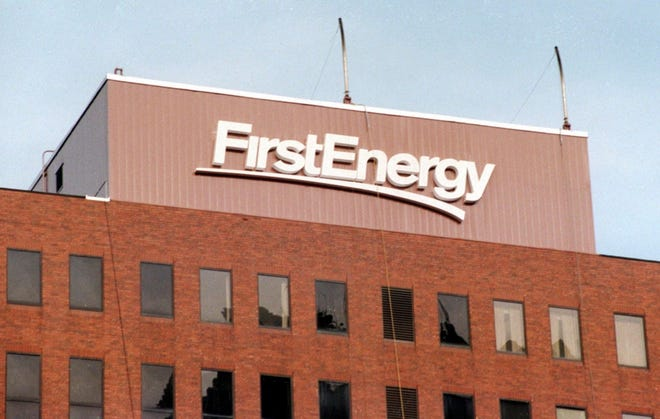 The FirstEnergy building in downtown Akron, Ohio.