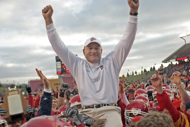 Dan McCarney, in his last game as Iowa State coach, is carried off the field by players after defeating Missouri at Jack Trice Stadium in Ames on Saturday, Nov. 18, 2006.