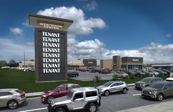 Rendering of the entrance of the proposed renovations for Westowne Center, located at the corner of 22nd Street and Westown Parkway in West Des Moines.