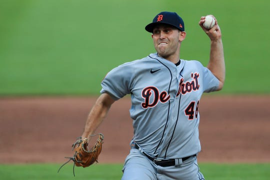 Tigers pitcher Matthew Boyd throws in the third inning of a baseball game against the Cincinnati Reds at Great American Ballpark in Cincinnati, Friday, July 24, 2020.