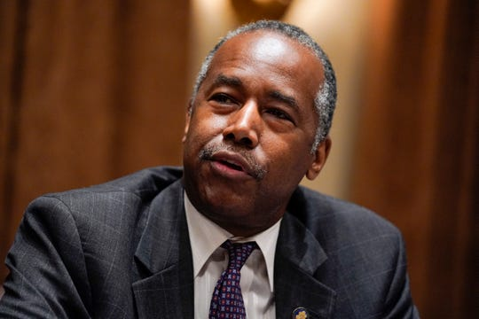 FILE - In this June 15, 2020, file photo Housing and Urban Development Secretary Ben Carson speaks during a roundtable with President Donald Trump about America's seniors, in the Cabinet Room of the White House in Washington.